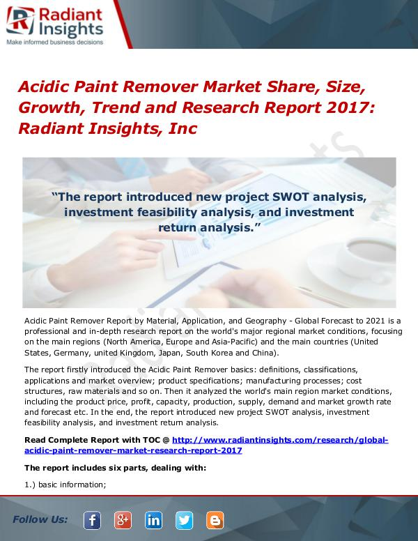 Acidic Paint Remover Market Share, Size, Growth, Trend 2017 Acidic Paint Remover Market Share, Size 2017