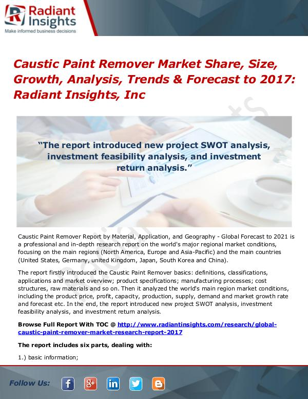 Caustic Paint Remover Market Share, Size, Growth, Analysis 2017 Caustic Paint Remover Market Share, Size 2017