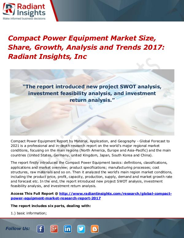 Compact Power Equipment Market Size, Share, Growth, Analysis 2017 Compact Power Equipment Market Size, Share 2017
