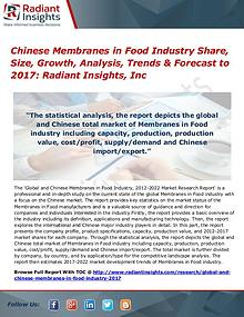Chinese Membranes in Food Industry Share, Size, Growth, Analysis 2017