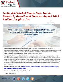 Lactic Acid Market Share, Size, Trend, Research, Growth 2017