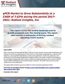 qPCR Market to Grow Substantially at a CAGR of 7.63%  at 2021