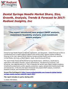 Dental Syringe Needle Market Share, Size, Growth, Analysis 2017