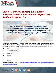 Cable TV Boxes Industry Size, Share, Forecast, Growth 2017