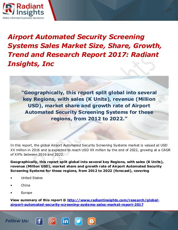 Airport Automated Security Screening Systems Sales Market Size 2017 Airport Automated Security Screening Systems Sales