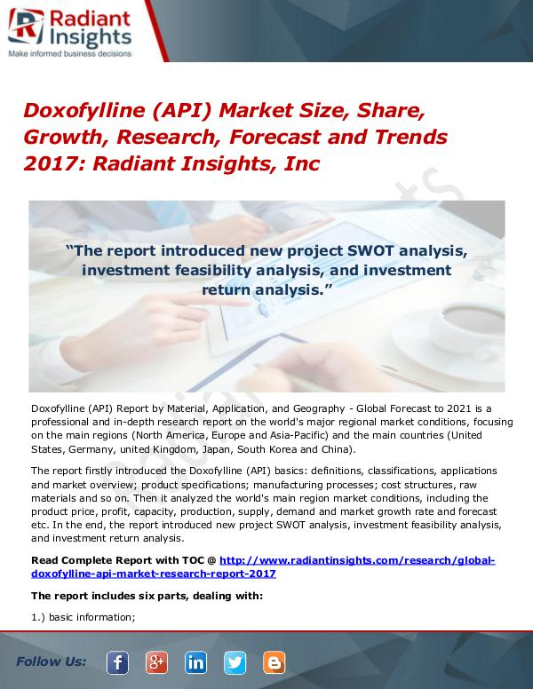Doxofylline (API) Market Size, Share, Growth, Research, Forecast 2017 Doxofylline (API) Market Size, Share, Growth 2017