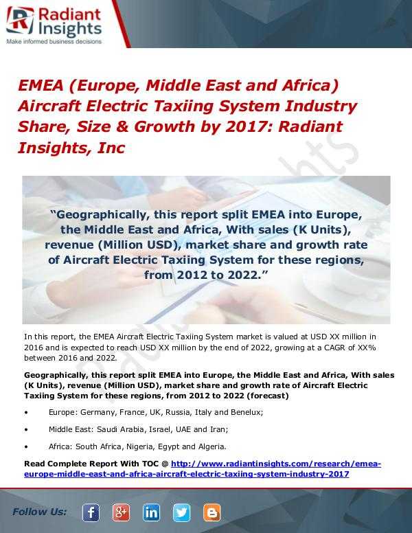 EMEA Aircraft Electric Taxiing System Industry 2017 EMEA Aircraft Electric Taxiing System Industry2017