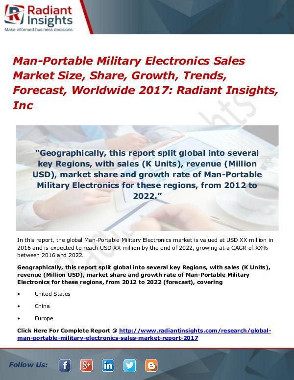 Man-Portable Military Electronics Sales Market Size, Share 2017 Man-Portable Military Electronics Sales Market2017