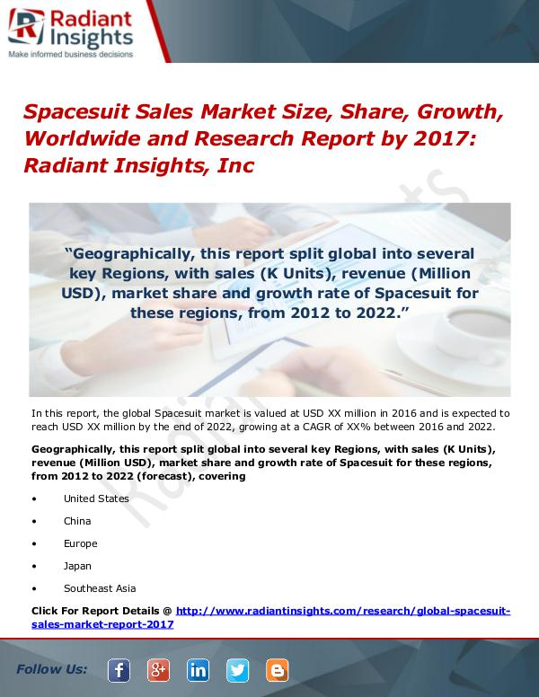 Spacesuit Sales Market Size, Share, Growth, Worldwide 2017 Spacesuit Sales Market Size, Share, Growth 2017