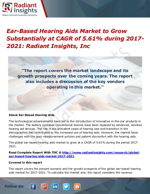 Ear-Based Hearing Aids Market to Grow Substantially at CAGR of 5.61% Ear-Based Hearing Aids Market 2021