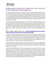 Orthokeratology Contact Lense Market Size, Share, Growth 2021
