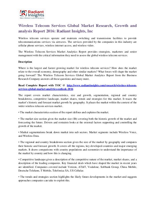 Wireless Telecom Services Market Research, Growth and Analysis Report Wireless Telecom Services Market 2016