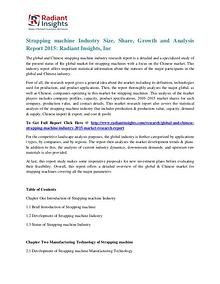 Chinese Strapping Machine Industry Size, Share, Growth 2015