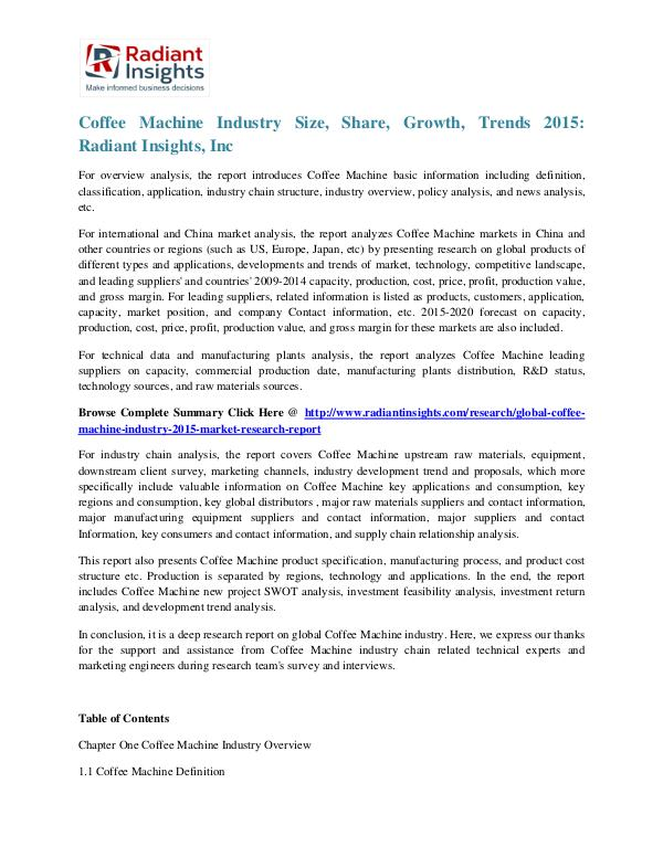Coffee Machine Industry Size, Share, Growth, Trends 2015 Coffee Machine Industry 2015