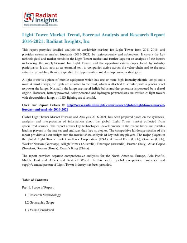 Light Tower Market Trend, Forecast Analysis and Research Report 2016 Light Tower Market 2021