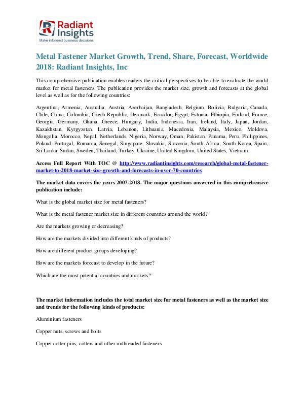 Metal Fastener Market Growth, Trend,Share, Forecast, Worldwide 2018 Metal Fastener Market 2018