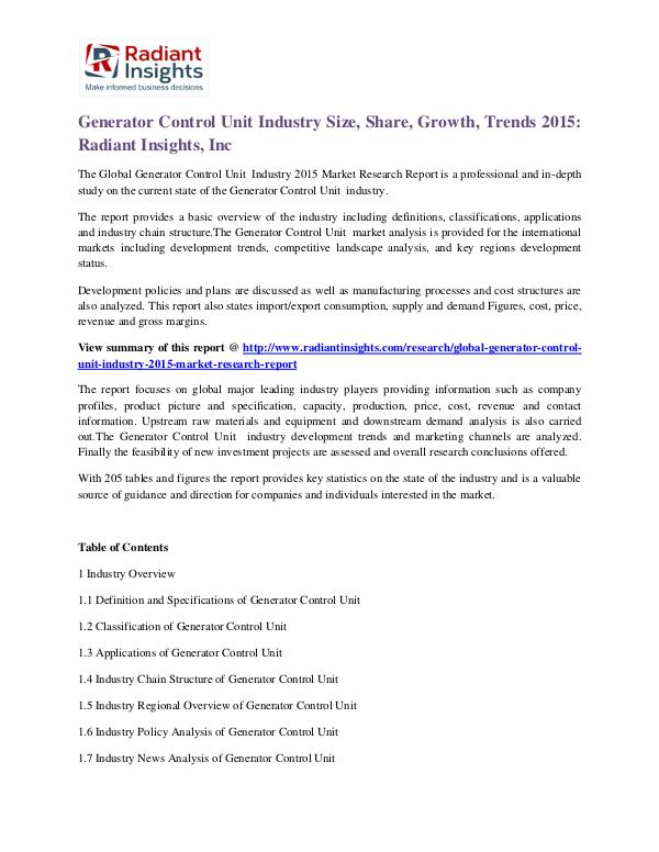 Generator Control Unit Industry Size, Share, Growth, Trends 2015 Generator Control Unit Industry