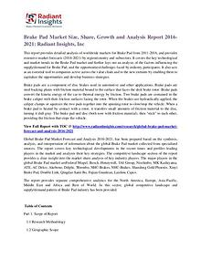 Brake Pad Market Size, Share, Growth and Analysis Report 2016-2021