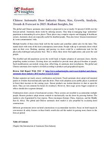 Chinese Automatic Door Industry Share, Size, Growth, Analysis 2015