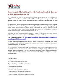 Benzyl Acetate Market Size, Growth, Analysis, Trends & Forecast 2015