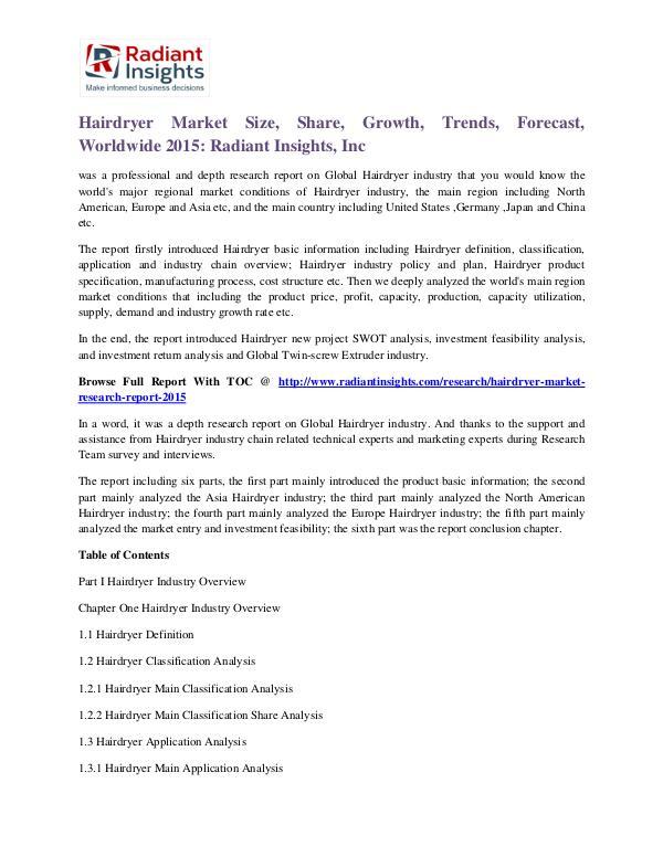 Hairdryer Market Size, Share, Growth, Trends, Forecast 2015 Hairdryer Market 2015