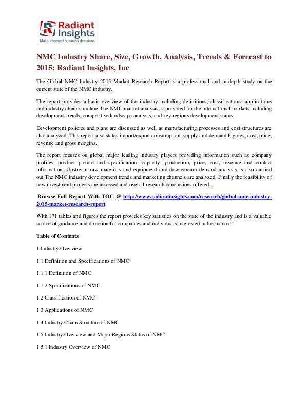 NMC Industry Share, Size, Growth, Analysis, Trends & Forecast to 2015 NMC Industry 2015
