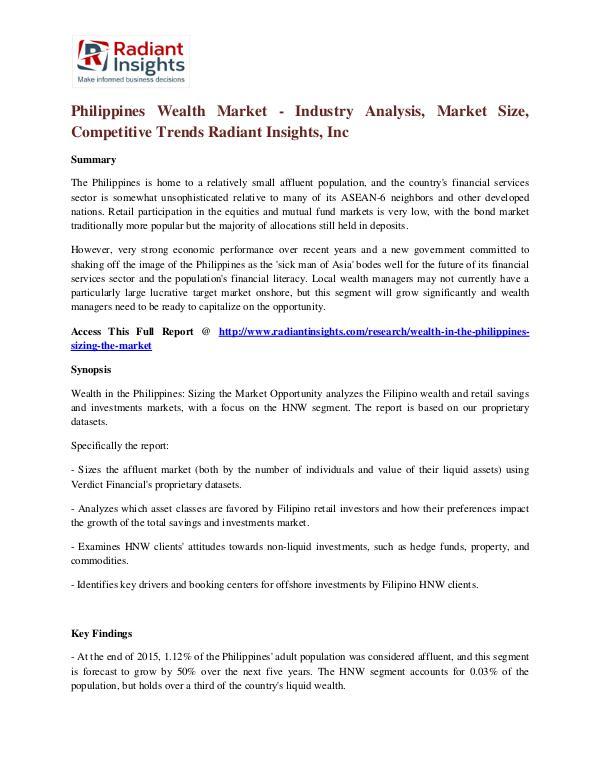 Philippines Wealth Market - Industry Analysis, Market Size Philippines Wealth Market