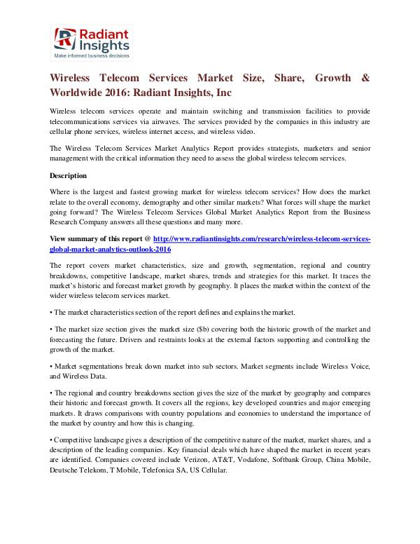 Wireless Telecom Services Market Size, Share, Growth & Worldwide 2016 Wireless Telecom Services Market 2016