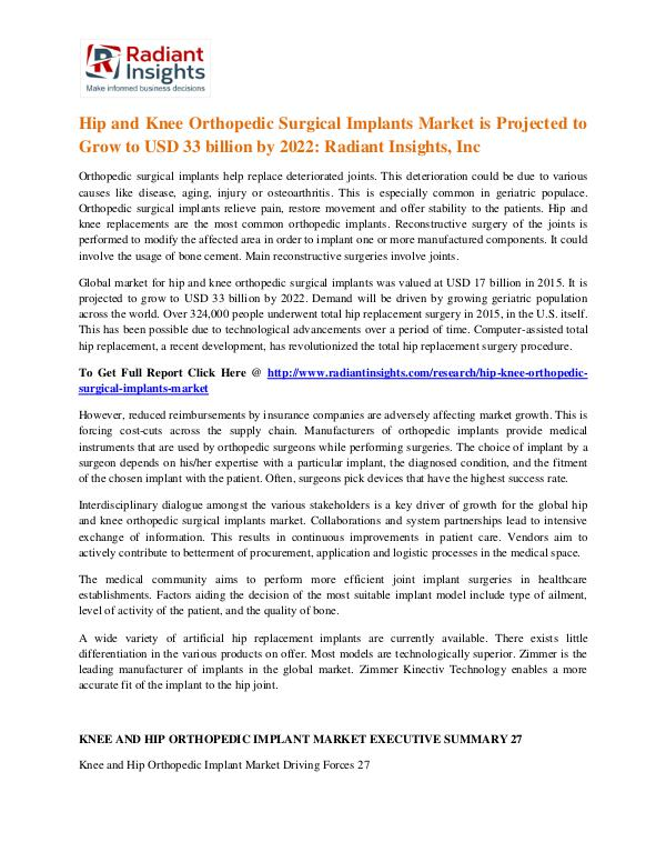 Hip and Knee Orthopedic Surgical Implants Market 2022 Hip and Knee Orthopedic Surgical Implants Market