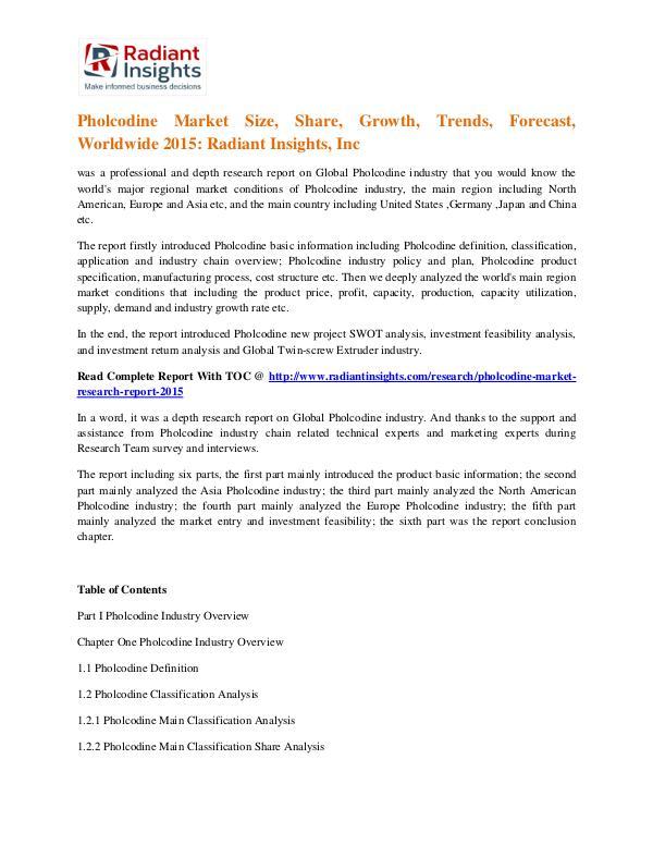 Pholcodine Market Size, Share, Trends, Forecast, Worldwide 2015 Pholcodine Market 2015