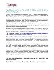 Tea Market Was Worth About USD 39 Billion in 2014 by 2019
