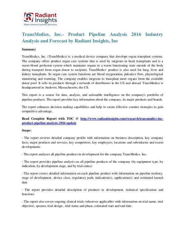 TransMedics, Inc.- Product Pipeline Analysis 2016 TransMedics, Inc.- Product Pipeline Analysis 2016