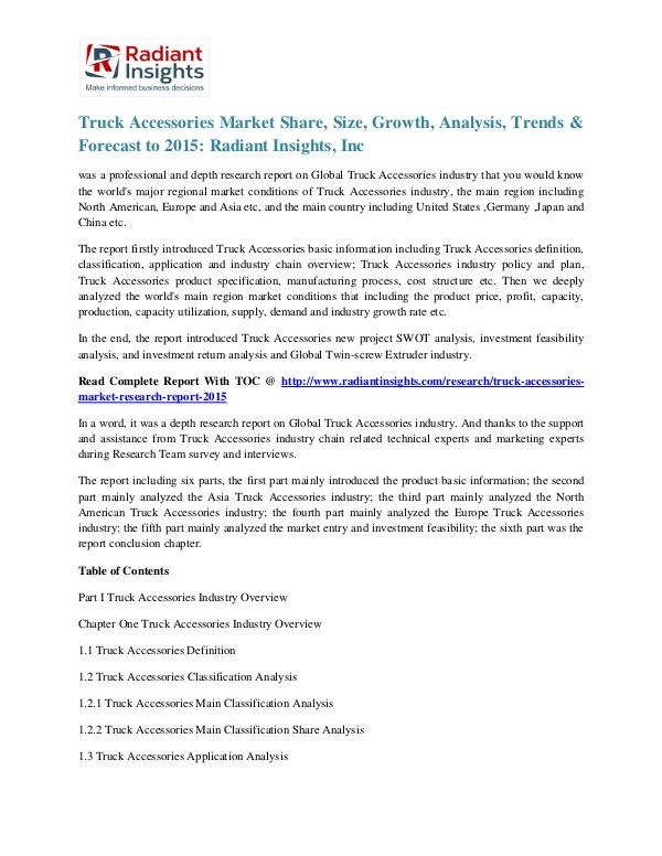 Truck Accessories Market Share, Size, Growth, Analysis, Trends 2015 Truck Accessories Market 2015