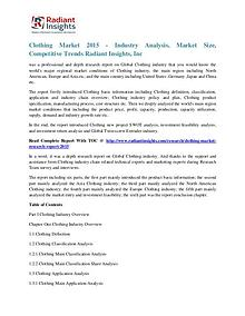 Clothing Market 2015 - Industry Analysis, Market Size