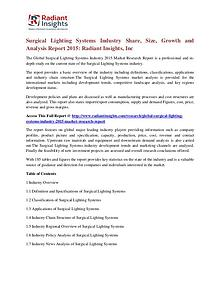 Surgical Lighting Systems Industry Share, Size, Growth 2015