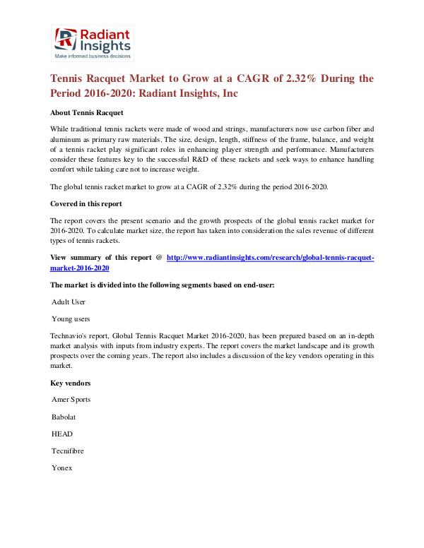 Tennis Racquet Market to Grow at a CAGR of 2.32% During the Period 20 Tennis Racquet Market  2016-2020