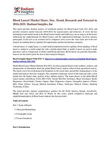 Blood Lancet Market Share, Size, Trend, Research and Forecast to 2016