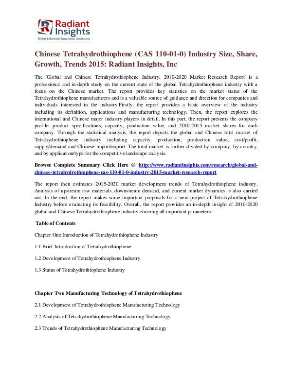 Chinese Tetrahydrothiophene (CAS 110-01-0) Industry Size, Share 2015 Tetrahydrothiophene (CAS 110-01-0) Industry 2015