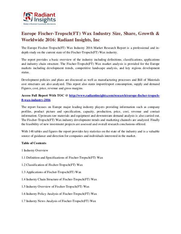 Europe Fischer-Tropsch(FT) Wax Industry Size, Share, Growth 2016 Europe Fischer-Tropsch(FT) Wax Industry 2016