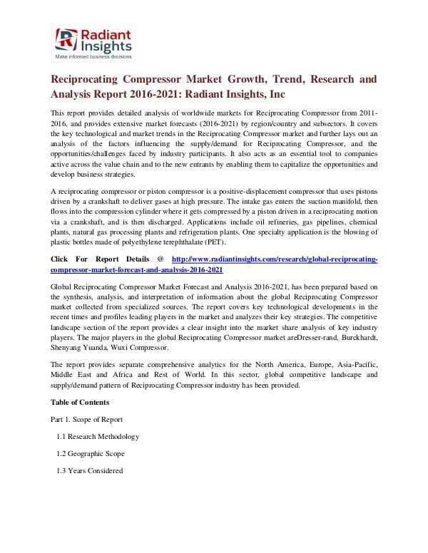 Reciprocating Compressor Market Growth, Trend, Research 2021 Reciprocating Compressor Market 2016-2021