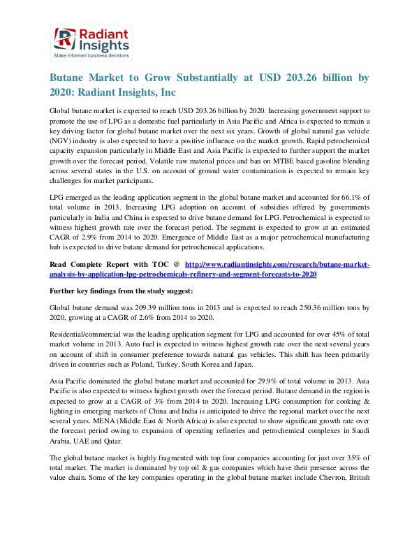 Butane Market to Grow Substantially at USD 203.26 Billion by 2020 Butane Market 2020