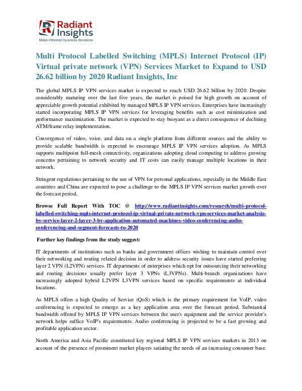 Multi Protocol Labelled Switching Internet Protocol Virtual private n MPLS IP VPN Services Market 2020