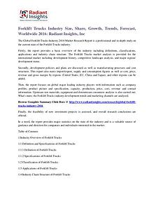 Forklift Trucks Industry Size, Share, Growth, Trends, Forecast 2016