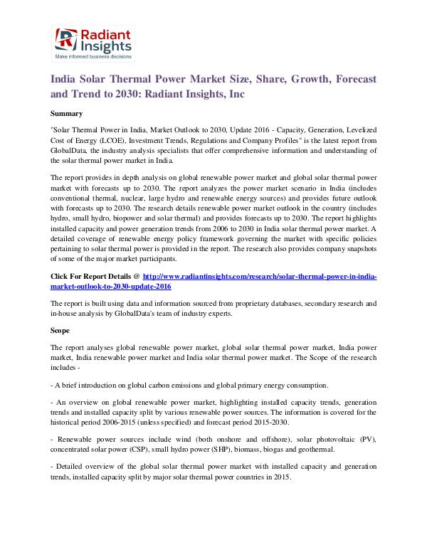 India Solar Thermal Power Market Size, Share, Growth, Forecast 2030 India Solar Thermal Power Market 2030