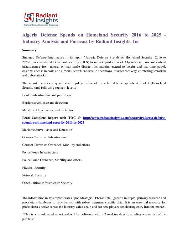 Algeria Defense Spends on Homeland Security 2016 to 2025 Defense Spends on Homeland Security Market 2025