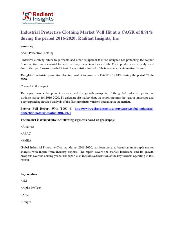 Industrial Protective Clothing Market Will Hit at a CAGR of 8.91% Industrial Protective Clothing Market 2020