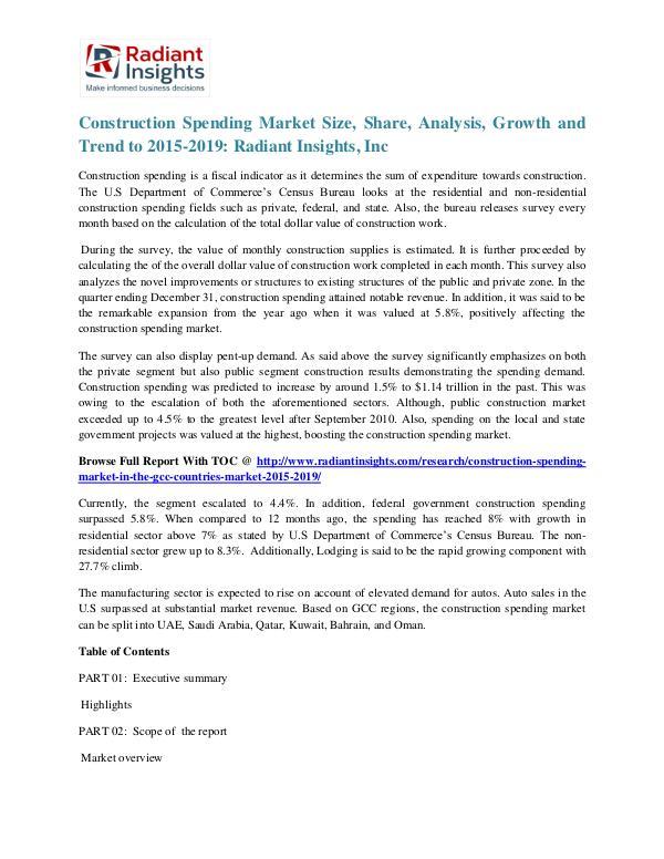 Construction Spending Market Size, Share, Analyisis, Growth 2019 Construction Spending Market 2015-2019