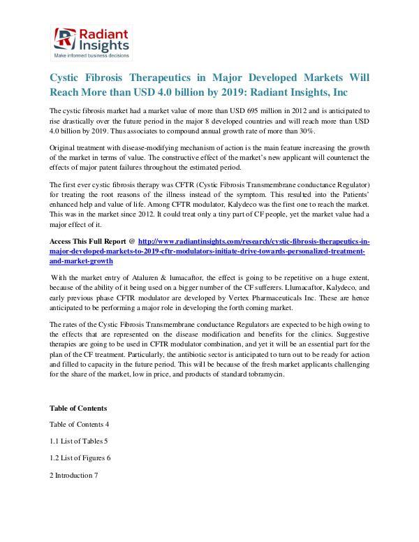 Cystic Fibrosis Therapeutics in Major Developed Markets Cystic Fibrosis Therapeutics in Major Developed Ma