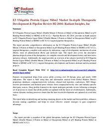 E3 Ubiquitin Protein Ligase Mdm2 Pipeline Review Market H2 2016