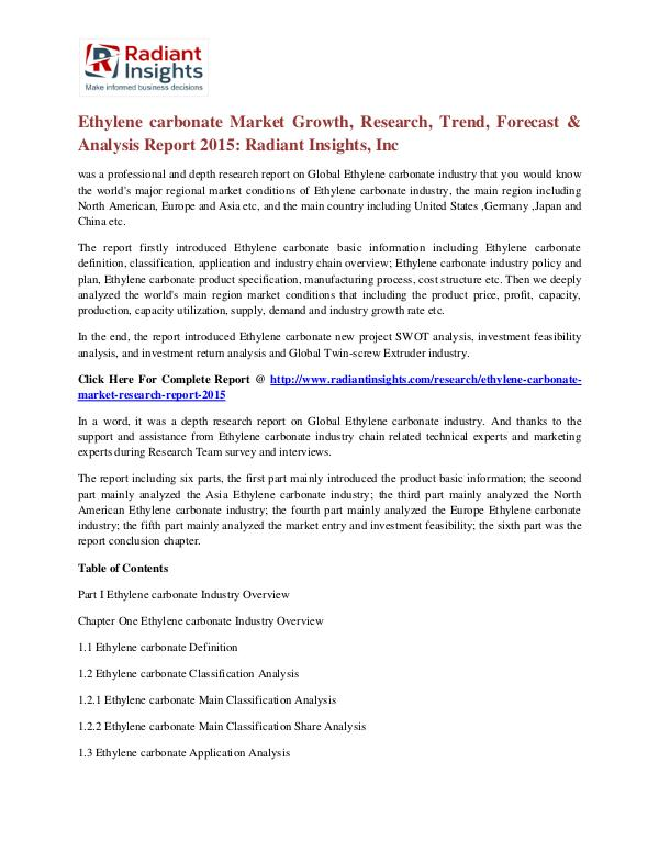 Ethylene Carbonate Market Growth, Research, Trend, Forecast 2015 Ethylene carbonate Market 2015